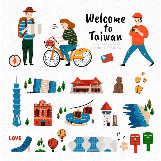 Zestaw Atrakcji Tajwanu, Słynna Architektura I Punkt Orientacyjny Na Białym Tle Z Trzema Podróżnikami Premium Wektorów