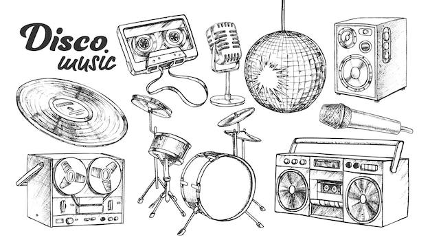Zestaw Atramentowych Elementów Kolekcji Muzyki Disco Premium Wektorów