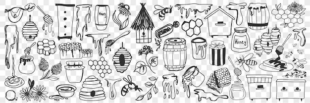 Zestaw Atrybutów I Narzędzi Pszczelarskich. Kolekcja Ręcznie Rysowane Miód, Ula, Pszczoły, Beczki I Narzędzia Do Prac Pasieki W Gospodarstwie Na Białym Tle. Premium Wektorów