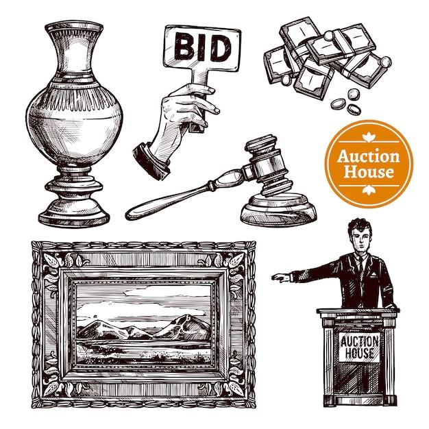 Zestaw Aukcji Ciągnionych Darmowych Wektorów