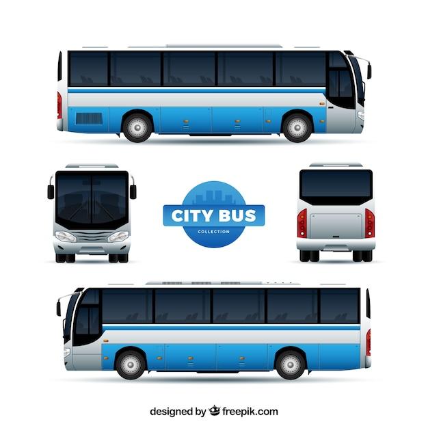 Zestaw autobusowy z różnymi perspektywami Darmowych Wektorów