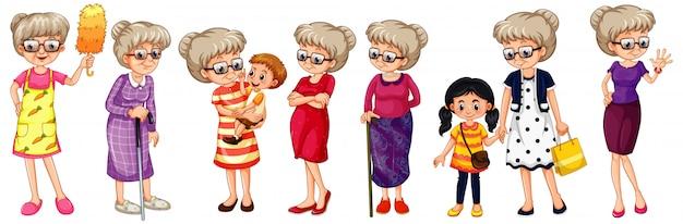 Zestaw Babci W Różnych Kostiumach Darmowych Wektorów