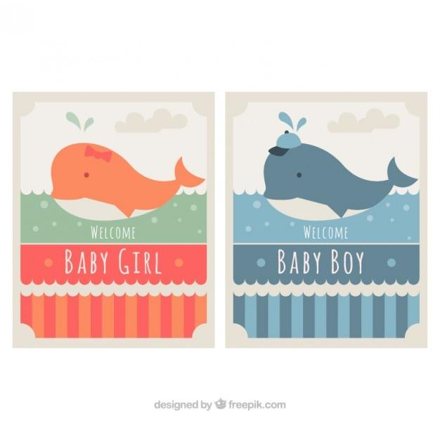 Zestaw baby cards prysznicowych z pięknym wielorybów Darmowych Wektorów