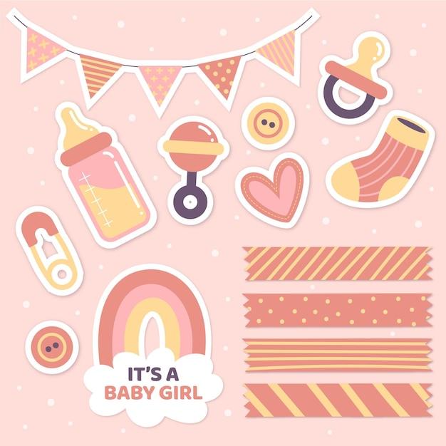 Zestaw Baby Shower Dla Dziewczynki Premium Wektorów
