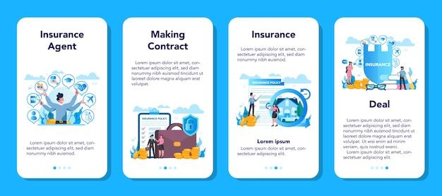 Zestaw Banerów Aplikacji Mobilnej Agenta Ubezpieczeniowego Premium Wektorów