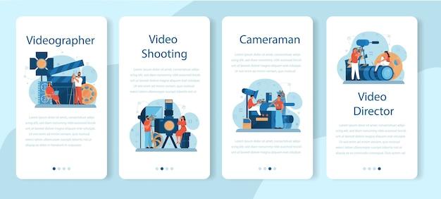 Zestaw Banerów Aplikacji Mobilnej Do Produkcji Wideo Lub Kamerzysty. Premium Wektorów