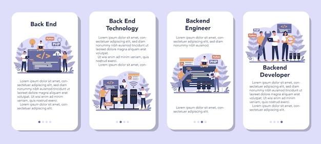 Zestaw Banerów Aplikacji Mobilnej Do Tworzenia Zaplecza Premium Wektorów