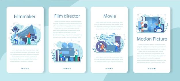 Zestaw Banerów Aplikacji Mobilnej Reżysera Filmowego. Pomysł Twórczy Premium Wektorów