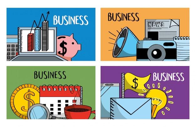 Zestaw banerów biznesowych laptop piggy kalendarza Premium Wektorów
