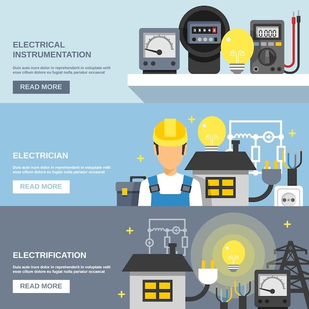 Zestaw banerów energii elektrycznej Darmowych Wektorów