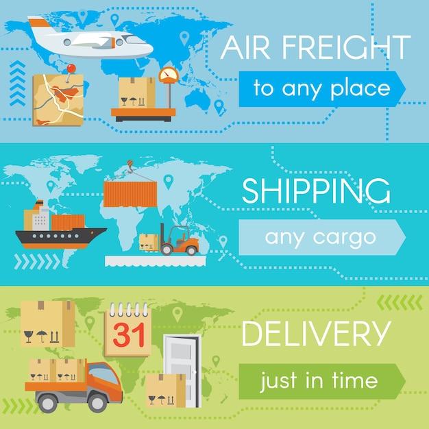 Zestaw Banerów Internetowych Dostawy. Usługi Transportowe, Samolot Towarowy, Spedycja I Spedycja, Darmowych Wektorów