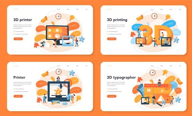 Zestaw Banerów Internetowych Lub Stron Docelowych W Technologii Druku 3d Premium Wektorów