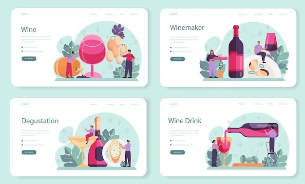 Zestaw Banerów Internetowych Lub Stron Docelowych Wina Premium Wektorów