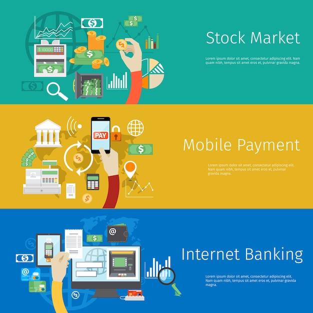 Zestaw Banerów Internetowych Płatności. Darmowych Wektorów
