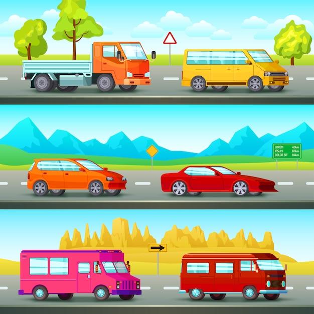 Zestaw Banerów Ortogonalnych Samochodów Darmowych Wektorów