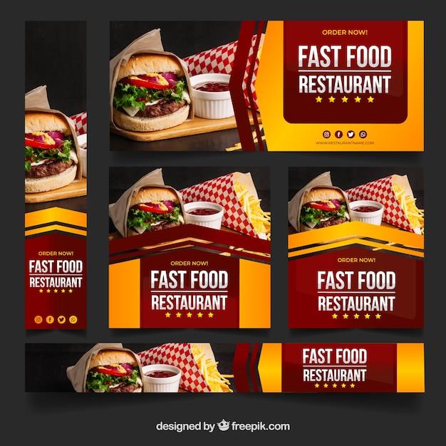 Zestaw banerów restauracja ze zdjęciem Darmowych Wektorów