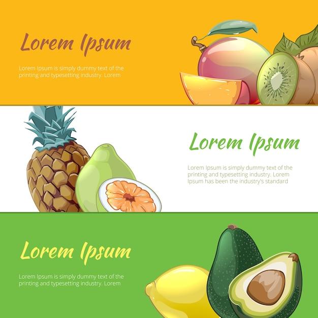 Zestaw Banerów Soczyste Owoce. Słodka Naturalna Witamina, Gruszka Ananasowa I Ekologiczny Deser Darmowych Wektorów
