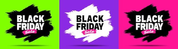 Zestaw Banerów Sprzedaży W Czarny Piątek. Premium Wektorów