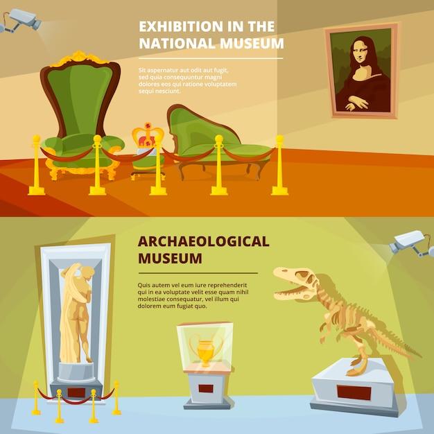 Zestaw banerów wystawowych muzeum Premium Wektorów