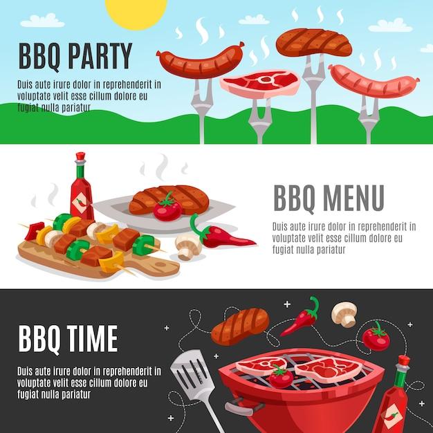 Zestaw banery menu barbecue Darmowych Wektorów