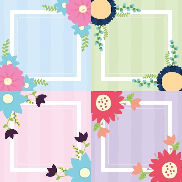 Zestaw banner kwiaty rama zestaw o kwiaty niebieski, zielony, różowy, fioletowy ilustracja Darmowych Wektorów