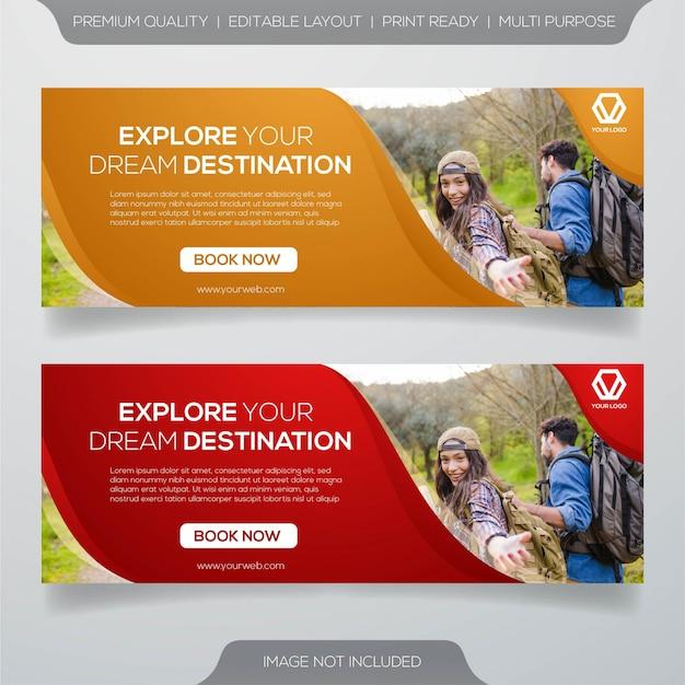 Zestaw Banner Podróży Premium Wektorów