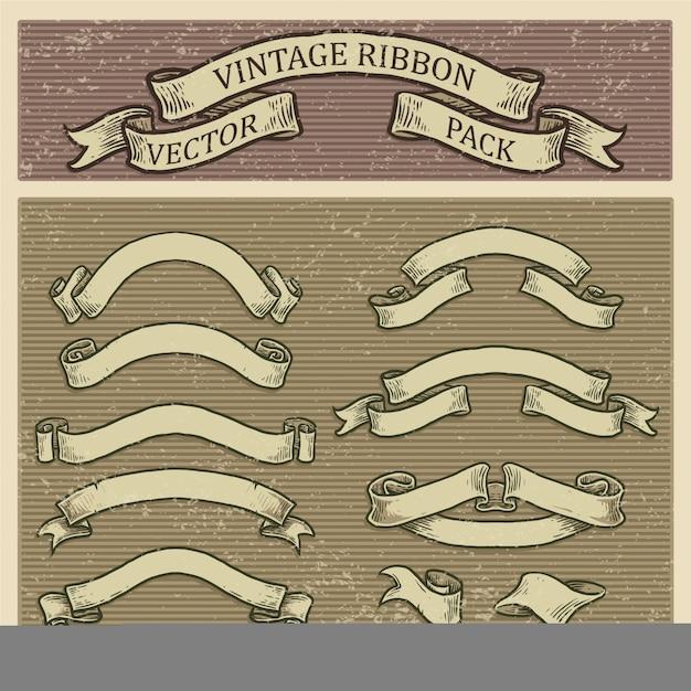 Zestaw Banner Retro, Kolekcja Vintage Wstążka Premium Wektorów
