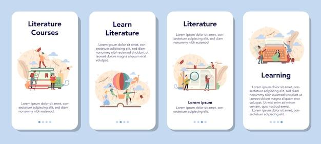 Zestaw Bannerów Aplikacji Mobilnej Literatury Szkolnej. Premium Wektorów