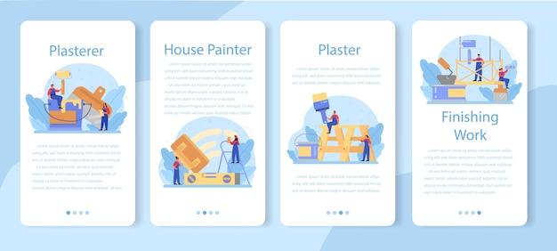 Zestaw Bannerów Aplikacji Mobilnej Tynkarz Domu. Premium Wektorów