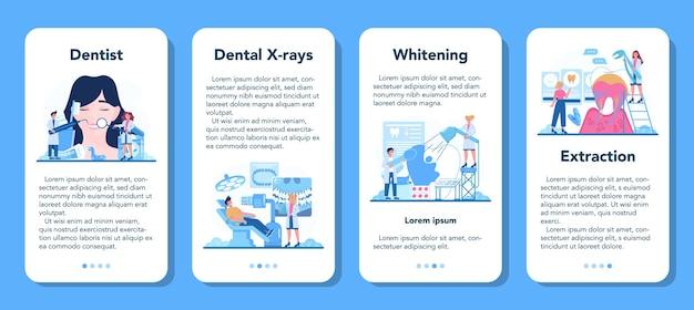 Zestaw Bannerów Aplikacji Mobilnej Zawód Dentysty. Premium Wektorów