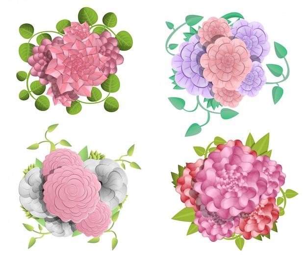 Zestaw Bannerów Camellia. Ilustracja Kreskówka Baner Wektor Kamelia Zestaw Do Projektowania Stron Internetowych Premium Wektorów