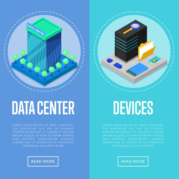Zestaw bannerów centrum danych i urządzeń komputerowych Premium Wektorów