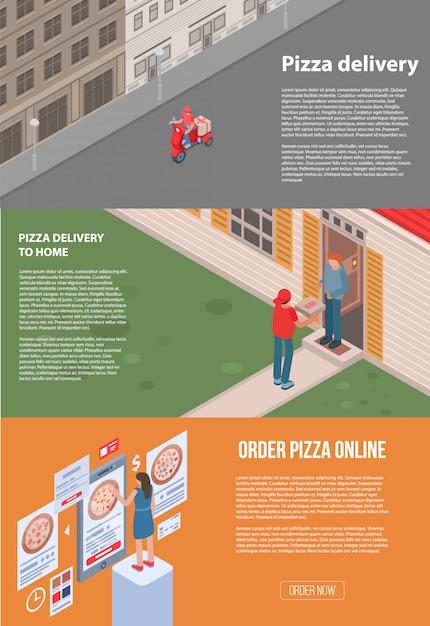 Zestaw bannerów do dostawy pizzy. izometryczny zestaw transparent wektor dostawy pizzy do projektowania stron internetowych Premium Wektorów