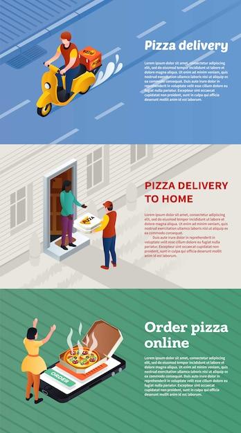 Zestaw bannerów do dostawy pizzy, styl izometryczny Premium Wektorów