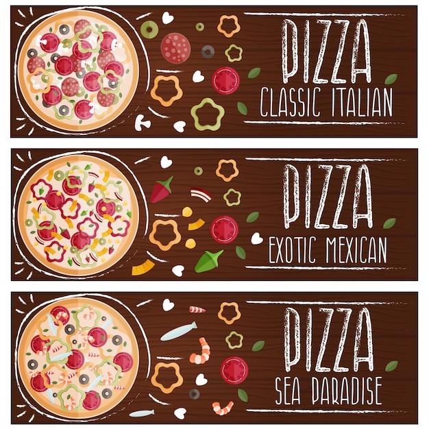 Zestaw Bannerów Do Pizzy Tematycznej O Różnych Smakach Płasko. Premium Wektorów