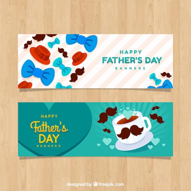 Zestaw Bannerów Dzień Ojca Z Muszkami Darmowych Wektorów