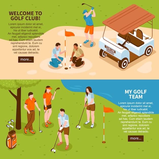 Zestaw Bannerów Golfa Darmowych Wektorów