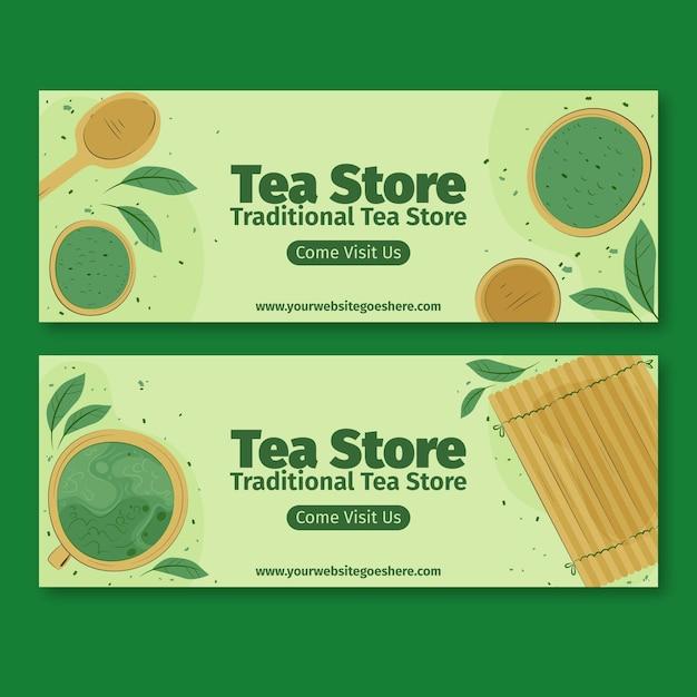 Zestaw Bannerów Herbaty Matcha Darmowych Wektorów