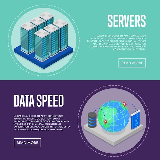 Zestaw bannerów internetowych usługi szybkiej komunikacji Premium Wektorów