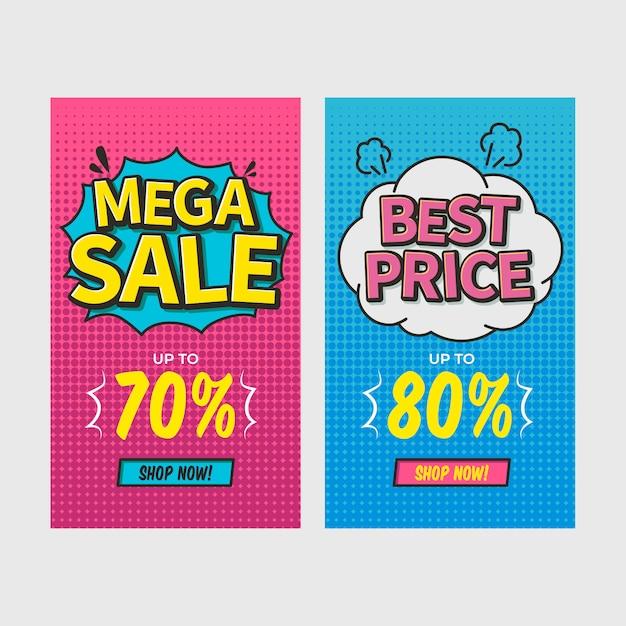 Zestaw bannerów komiksowych zniżki Premium Wektorów
