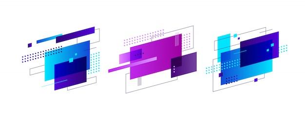 Zestaw bannerów kreatywnych abstrakcyjnych kształtów Darmowych Wektorów