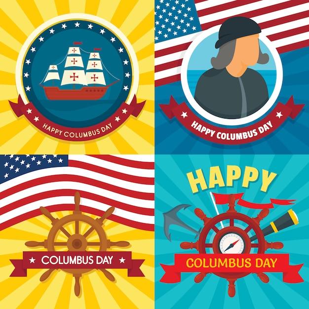 Zestaw Bannerów Na Dzień Kolumba. Premium Wektorów