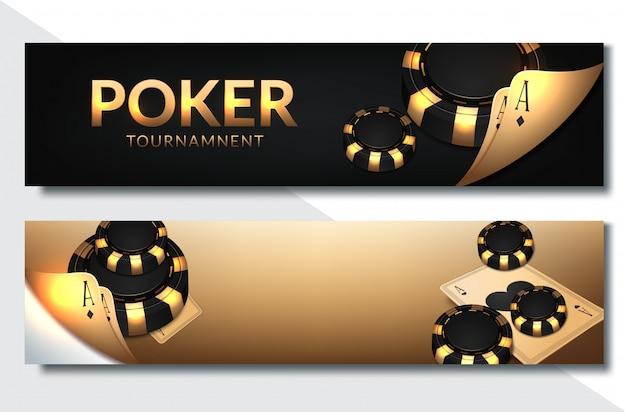 Zestaw bannerów poziomych poker casino Premium Wektorów
