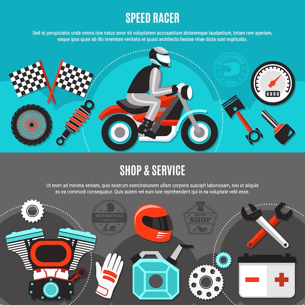 Zestaw Bannerów Poziomych Speed Racer Darmowych Wektorów