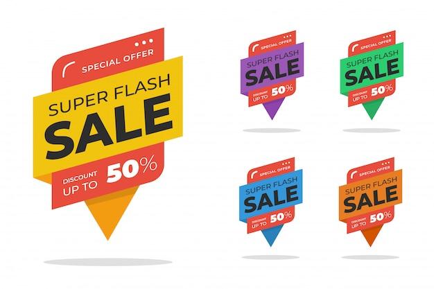 Zestaw bannerów rabatowych sprzedaż flash Premium Wektorów