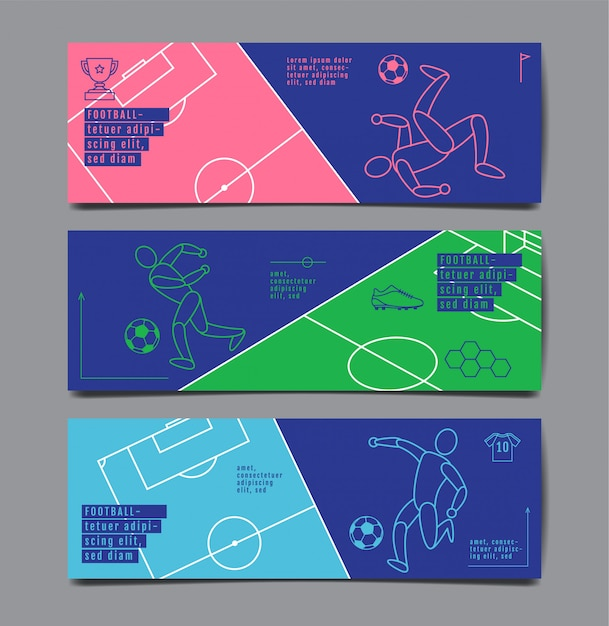 Zestaw bannerów sportowych Premium Wektorów