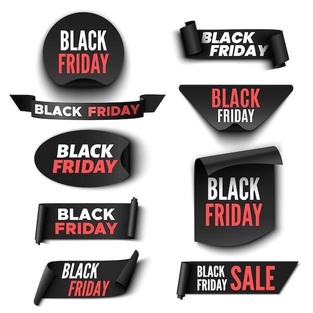 Zestaw Bannerów Sprzedaży W Czarny Piątek. Taśmy I Naklejki. Premium Wektorów