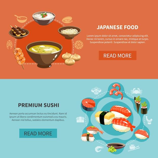Zestaw Bannerów Sushi Darmowych Wektorów