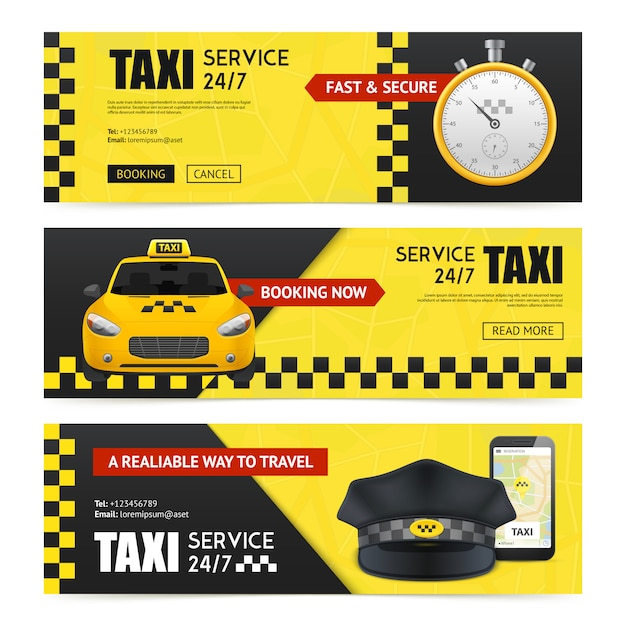 Zestaw bannerów taksówki Darmowych Wektorów