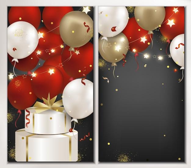 Zestaw bannerów urodziny z czerwonymi, białymi, złotymi balonami na białym tle na ciemnym tle. szablon plakatu, promocja biznesu, zniżki, zaproszenia. ilustracja Premium Wektorów
